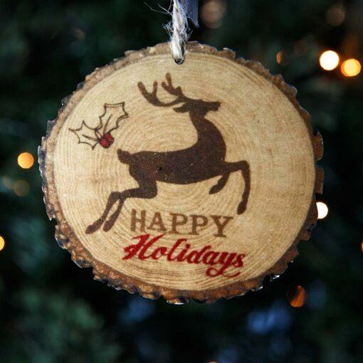Ξύλινο στολίδι Happy Holidays, μήκους 10cm
