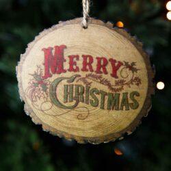 Ξύλινο στολίδι Merry Christmas, μήκους 10cm