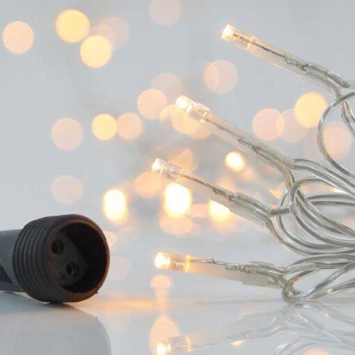 100 LED Θερμά Λευκά με επέκταση και διάφανο καλώδιο