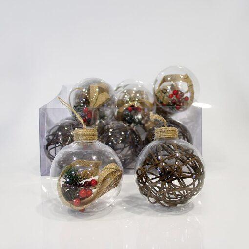 Μπάλα διάφανη πλαστική σε διάφορα σχέδια 10cm