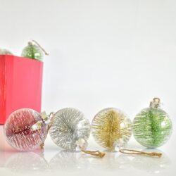 Μπάλα διάφανη πλαστική σε διάφορα σχέδια 8cm