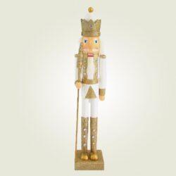 Καρυοθραύστης με σκήπτρο, λευκός - χρυσός, ύψους 55cm