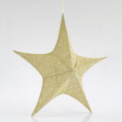 Αστέρι τρισδιάστατο, χρυσό, υφασμάτινο, ύψους 40cm
