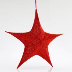 Αστέρι τρισδιάστατο, κόκκινο, υφασμάτινο, ύψους 40cm