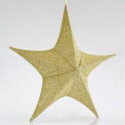 Αστέρι τρισδιάστατο, χρυσό, υφασμάτινο, ύψους 80cm