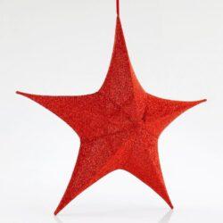 Αστέρι τρισδιάστατο, κόκκινο, υφασμάτινο, ύψους 80cm