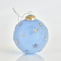 Μπάλα γαλάζια παγωμένη με αστεράκια, διαμέτρου 8cm