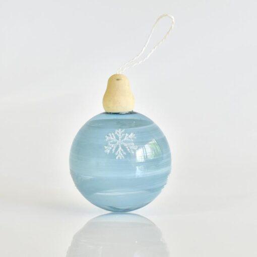 Μπάλα γαλάζια με νιφάδες, διαμέτρου 8cm