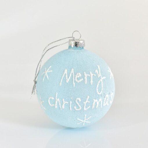 Μπάλα γαλάζια ματ Merry Christmas