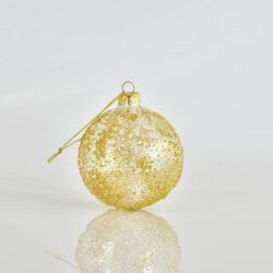 Μπάλα χρυσή διάφανη ανάγλυφη, διαμέτρου 8cm