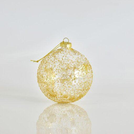 Μπάλα χρυσή διάφανη ανάγλυφη, διαμέτρου 10cm