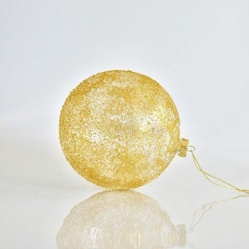 Μπάλα χρυσή διάφανη ανάγλυφη, διαμέτρου 15cm
