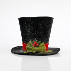 Καπέλο υφασμάτινο μαύρο, ύψους 18cm