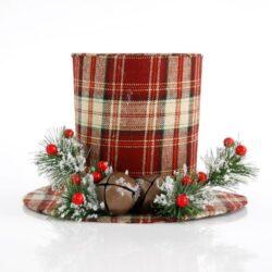 Καπέλο με καρό ύφασμα, ύψους 18cm