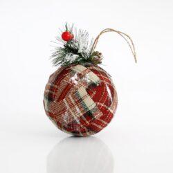Μπάλα υφασμάτινη καρό με κλαδάκι, 10.5cm