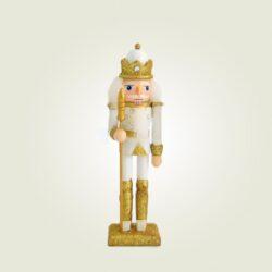 Καρυοθραύστης με σκήπτρο λευκός - χρυσός, ύψους 18cm