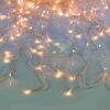 240 LED Κουρτίνα με διάφανο καλώδιο και Θερμό Λευκό λαμπάκι