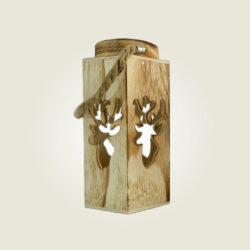 Ξύλινο φαναράκι με τάρανδο, ύψους 27cm