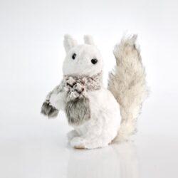 Σκιουράκι λευκό με κασκόλ, ύψους 20cm