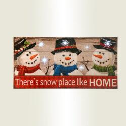 Ξύλινη ταμπέλα με χιονάνθρωπους, 6 LED, 40cm