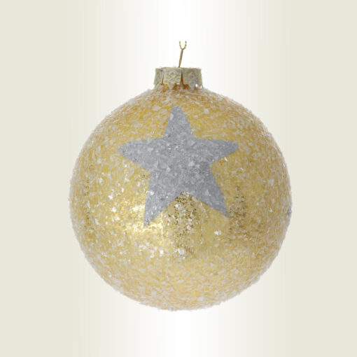 Μπάλα χρυσή με αστέρι, γυάλινη, διαμέτρου 10cm