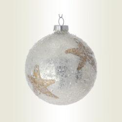 Μπάλα σαμπανί με αστέρι, γυάλινη, διαμέτρου 8cm