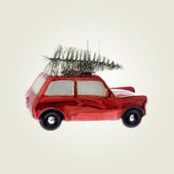 Γυάλινο αυτοκινητάκι με δέντρο, μήκους 10cm