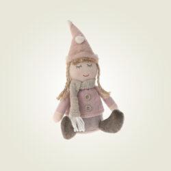 Κοριτσάκι καθιστό, ροζ με σκούφο, ύψους 21cm