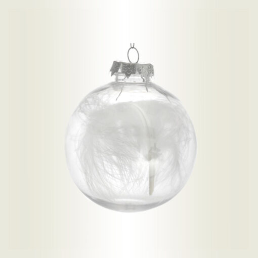Μπάλα διάφανη με φτερό, διαμέτρου 8cm