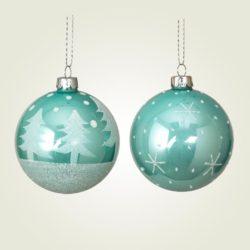 Μπάλα γυάλινη, πράσινη σε δύο σχέδια, διαμέτρου 8cm