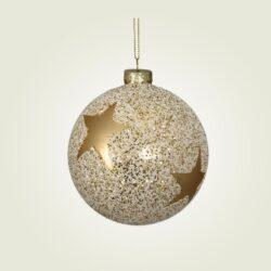 Μπάλα γυάλινη με χρυσό αστέρι, διαμέτρου 8cm