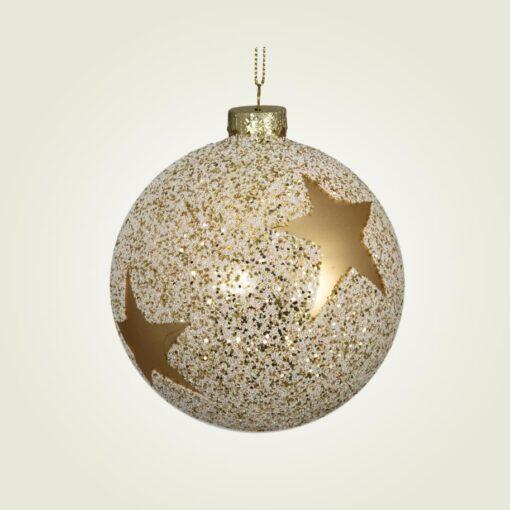 Μπάλα γυάλινη με χρυσό αστέρι, διαμέτρου 10cm