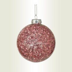 Μπάλα γυάλινη με ροζ beads, διαμέτρου 8cm