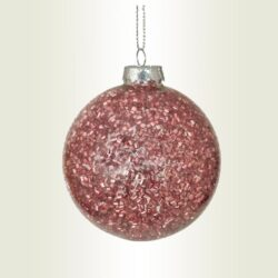 Μπάλα γυάλινη με ροζ beads, διαμέτρου 10cm