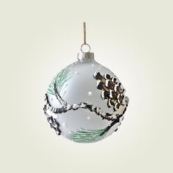 Μπάλα γυάλινη frost με ανάγλυφα κλαδιά, διαμέτρου 8cm