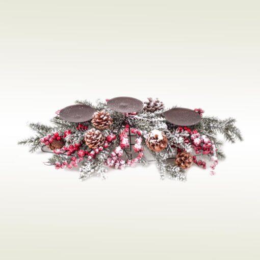 Οβάλ Κηροπήγιο με χιόνι και berries για 4 ρεσώ, 50cm