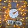Χιονάθρωπος ξύλινος κρεμαστός, ύψους 17cm