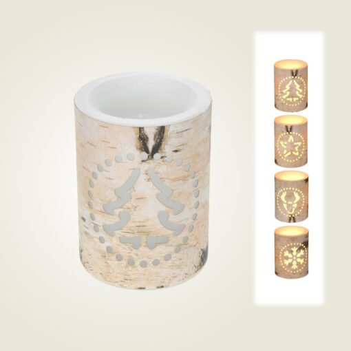 Κερί με ξύλινο κορμό, φωτιζόμενο με LED, ύψους 10cm