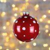 Μπάλα γυάλινη κόκκινη πουά, διαμέτρου 8cm