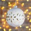 Μπάλα γυάλινη μπεζ, με χρυσά φυτόμορφα μοτίβα, 10cm