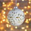 Μπάλα γυάλινη μπεζ, με χρυσά φυτόμορφα μοτίβα, 8cm