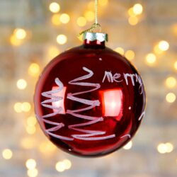 Μπάλα γυάλινη κόκκινη Merry Christmas, 10cm