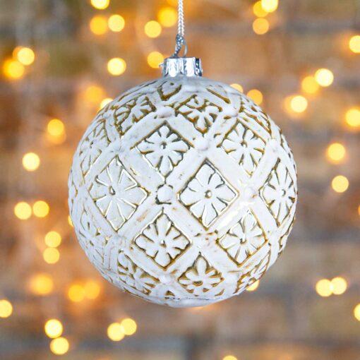 Μπάλα γυάλινη μπεζ, με χρυσά τετράγωνα μοτίβα, 10cm
