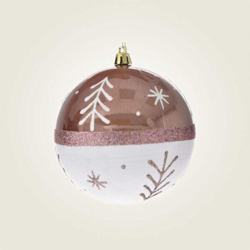 Μπάλα ροζ - λευκή με δεντράκι, διαμέτρου 10cm