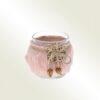 Κηροπήγιο γυάλινο με ροζ γουνίτσα, διαμέτρου 7cm