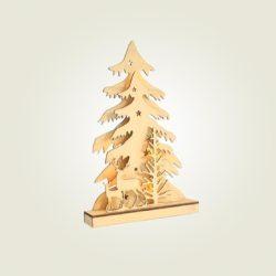 Ξύλινο φωτιζόμενο δέντρο με τάρανδο, ύψους 37cm