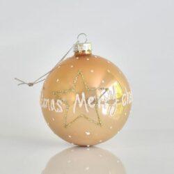 Μπάλα σαμπανί, γυάλινη, με λευκόχρυση διακόσμηση, 8cm