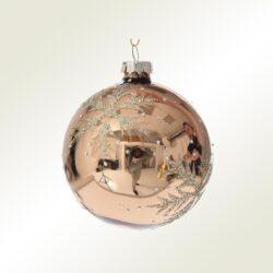 Μπάλα γυάλινη μπρονζέ με νιφάδα, 8cm