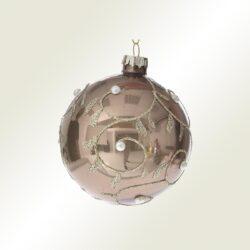 Μπάλα γυάλινη γκρι με νιφάδα, 8cm