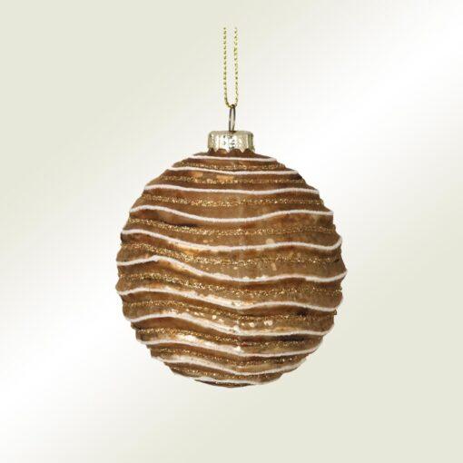 Μπάλα γυάλινη χάλκινη - κυματιστή, διαμέτρου 8cm